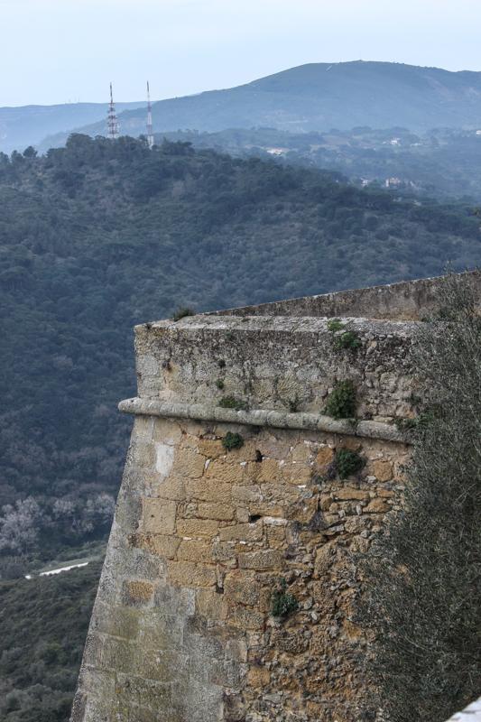 Palmela Castle, 17C defensive walls overlooking the Arrabida Mountains