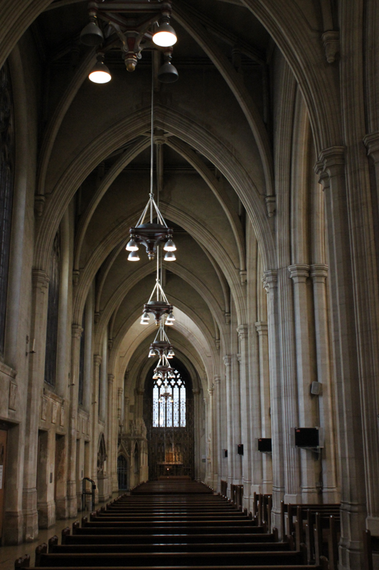Side aisle, with Knill Chantry at far left, and Blessed Sacrament Chapel at end