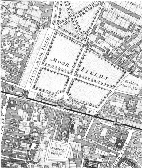Bethlem in Moorfields Map 1682, by William Morgan, London. Actually Surveyed 1682. Licensed under Public Domain via Wikimedia Commons