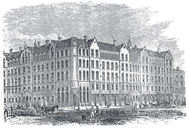 """The """"Peabody"""" dwellings for the industrious poor in Commercial Street, Spitalfields. A wood-engraving published in the Illustrated London News, 1863 (shortly before the building was opened). Architect: H.A. Darbishire. Engraver unknown."""