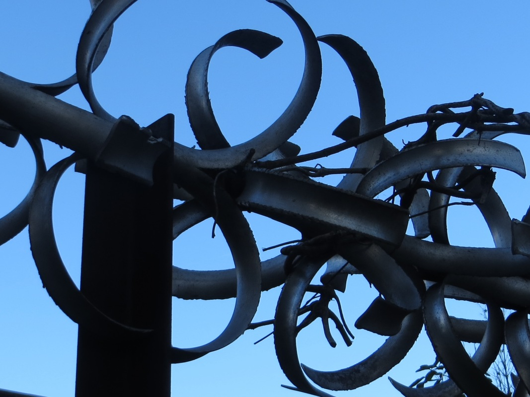 Razor wire around a housing estate