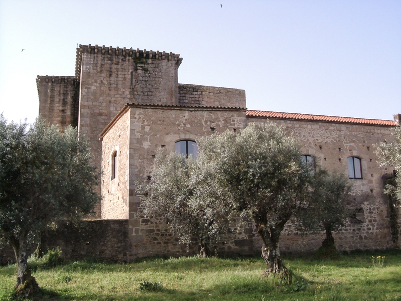 The rear of the buildings, with the Church and the old living quarters