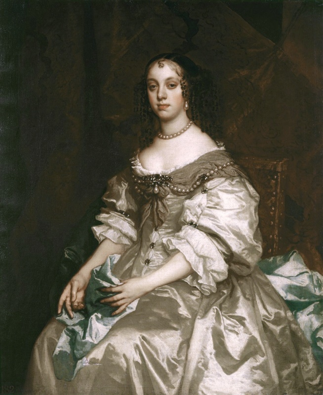 """""""Catherine of Braganza - Lely 1663-65"""" by Peter Lely - The Royal Collection. Licensed under Public Domain via Wikimedia Commons - http://commons.wikimedia.org/wiki/File:Catherine_of_Braganza_-_Lely_1663-65.jpg#mediaviewer/File:Catherine_of_Braganza_-_Lely_1663-65.jpg"""