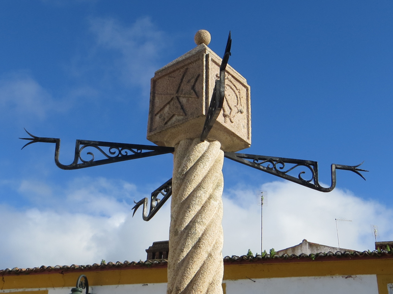 The Pelourinho or Pillory in the square of the Prior's Palace Balcony