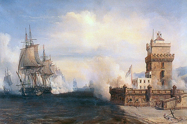French ships exchanging fire with the Tower during the Battle of the Tagus, 1831 (Wikipedia)