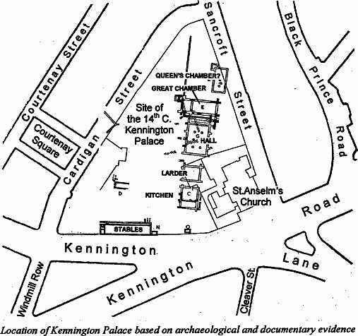 Kennington Palace (http://www.vauxhallcivicsociety.org.uk/history/kennington-palace)
