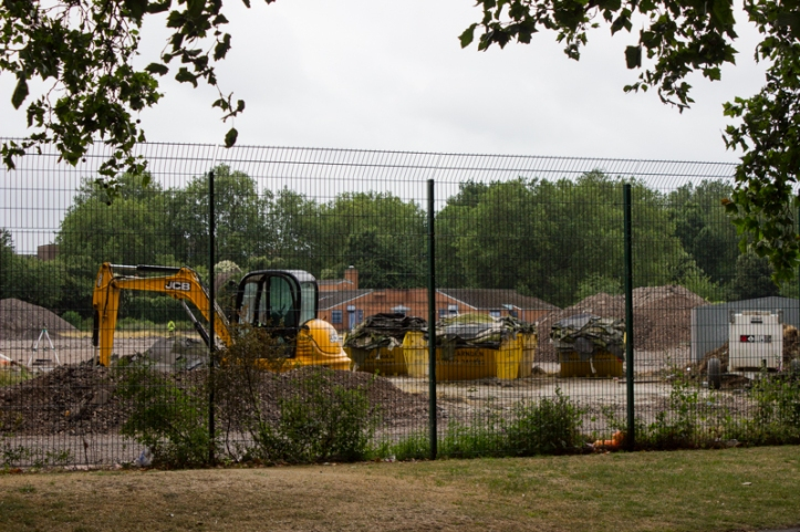 The bulldozers in the athletics track