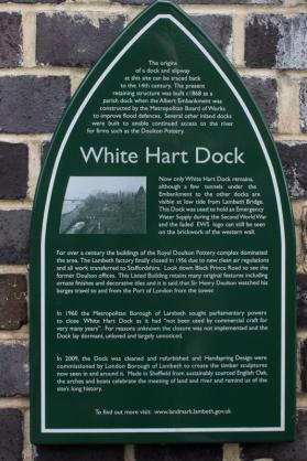 White Hart Dock, partially restored on the Albert Embankment