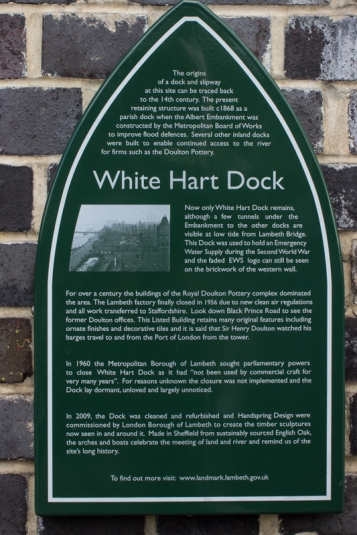 White Hart Dock, partially restored on the Albert Embankment