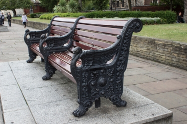 Swan-end benches on the Albert Embankment