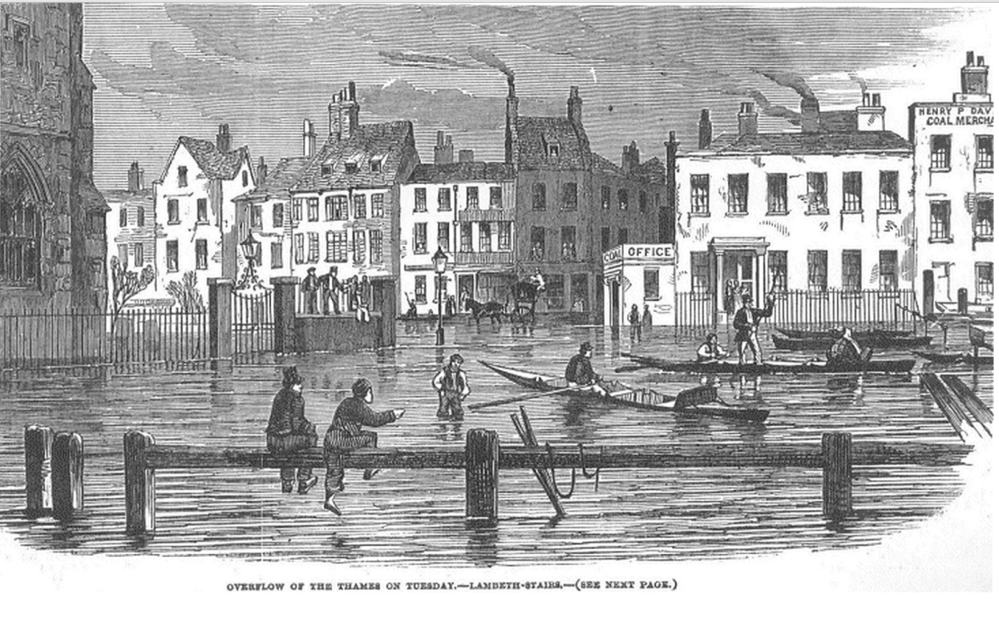 Flooding in London, Illustrated London News, 2 Feb.1850 (http://www.victorianlondon.org/weather/floods.htm)