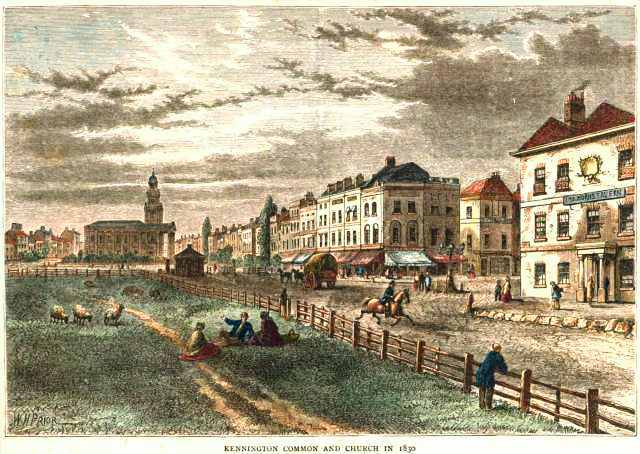 Kennington Common and Church in 1830s-