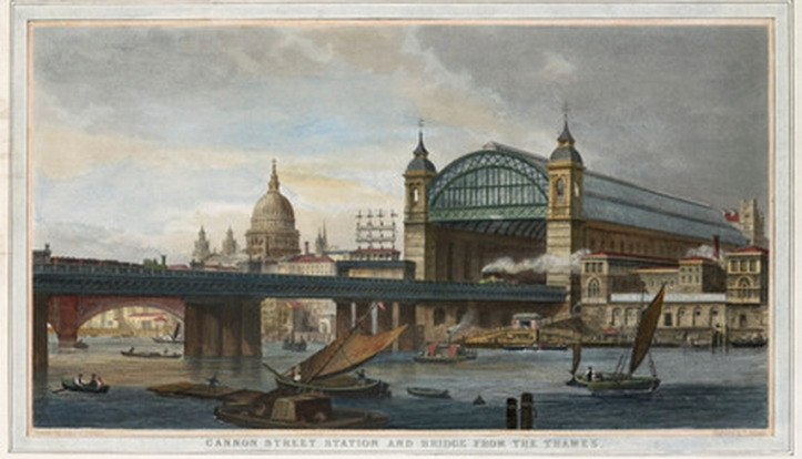 Cannon Street Station & Bridge from the Thames, 19C (www.memoryprints.com)