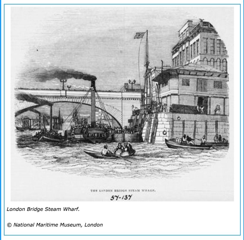London Bridge Steam Wharf , 1844 (www.portcities.org.uk)