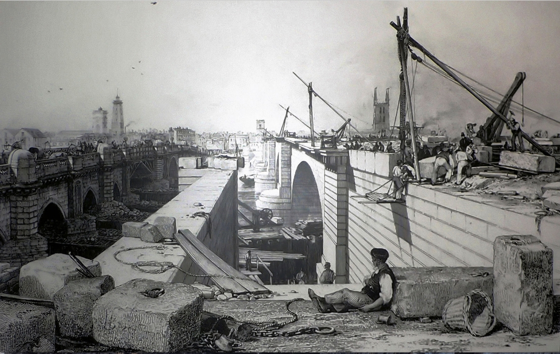 Old & new London Bridges in 1830, engraving by EW Cooke (Wikipedia)