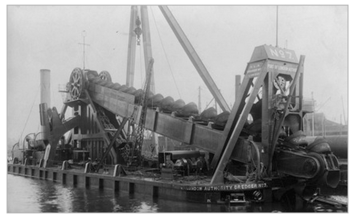 Steam Powered Bucket Dredger PLA No.7, c.1920 (www.museumoflondonprints.com)