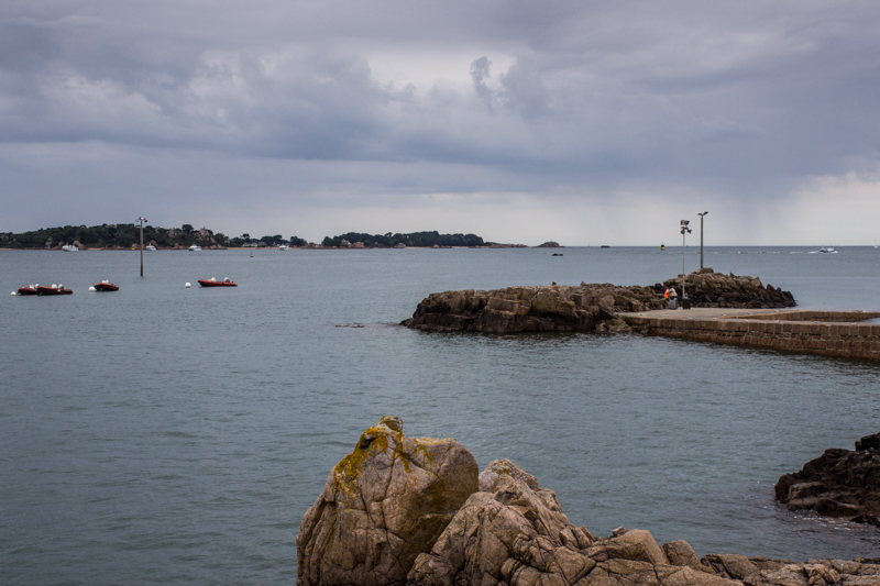 The Ile de Brehat in the distance, & the landing stage for the ferry