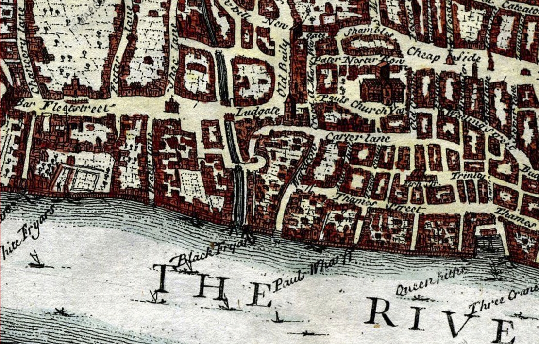 London in Elizabth I's reign, engraved in 1720 & based on the Agas map (www.mapco.net)