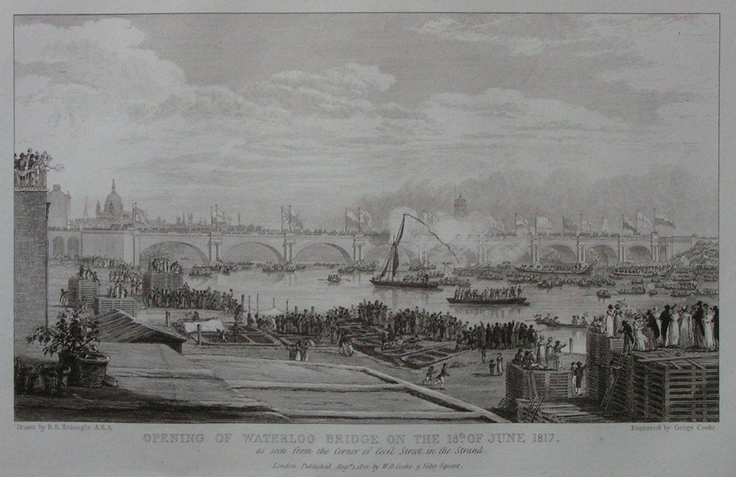 Opening of Waterloo Bridge, 1817 (www.rareoldprints.com)