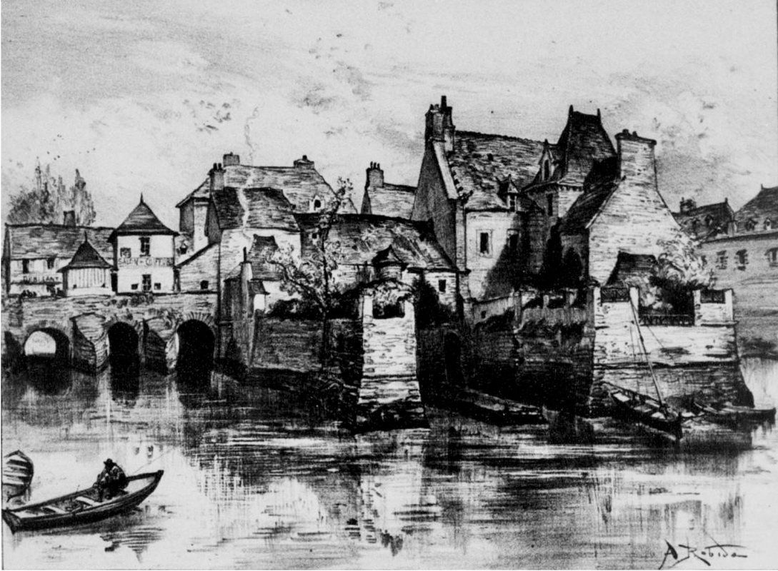 """Pont du Rohan, lithographie d'Albert Robida publiée dans """"La vieille France, Bretagne"""" vers 1900 (http://gallica.bnf.fr/ark:/12148/bpt6k102617k/f211.image)"""