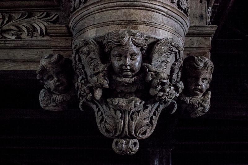 Carving on the edge of the organ loft, Guimiliau