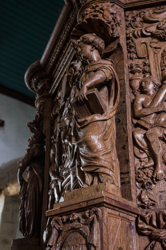 The carved pulpit of 1677, Guimiliau