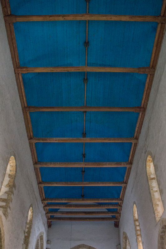Another barrel-vaulted, blue ceiling