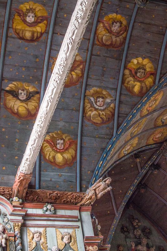The ceiling and carvings in Locmelar Church