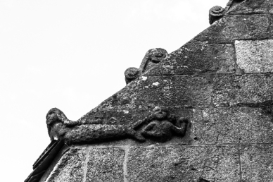 Carving high on the wall, Sizun Church