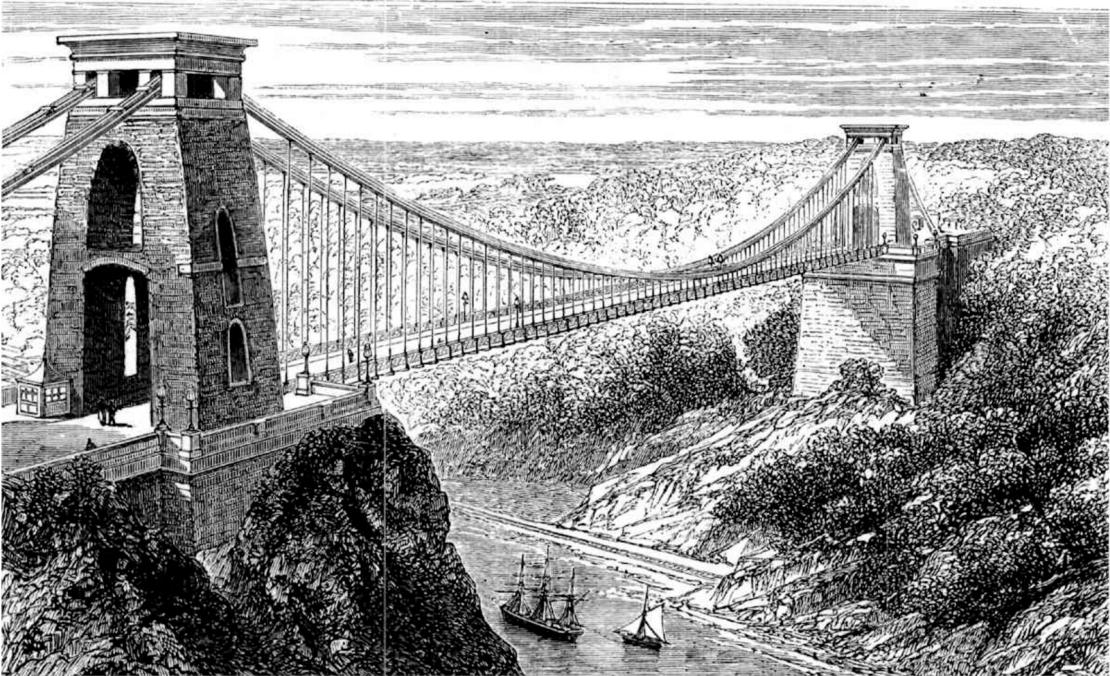 Clifton Suspension Bridge, 1878 (https://commons.wikimedia.org/wiki/File:Suspension_bridge_at_Clifton.jpg)