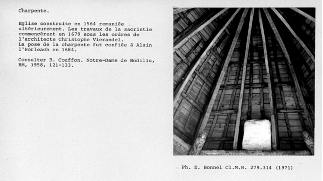 Interior of the Sacristy Roof, Bodilis, 1971 (Ministry of Culture Database)