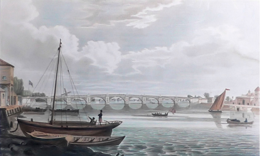 Regent Bridge (Vauxhall Bridge), 1706 (https://commons.wikimedia.org/wiki/File:Vauxhall_Bridge_1816.jpg)