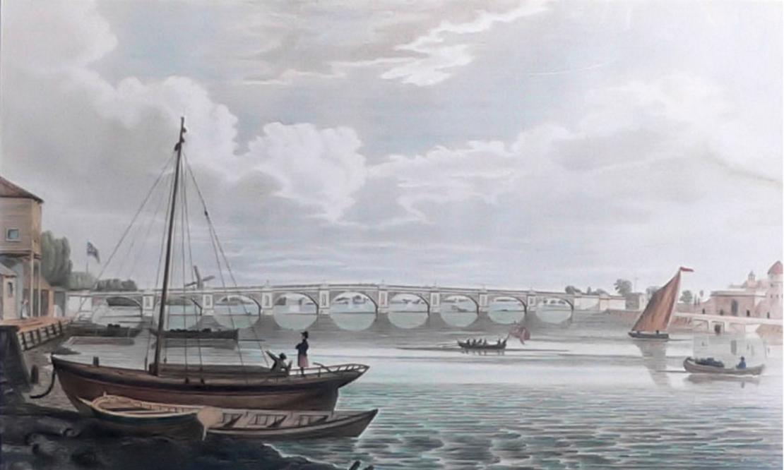 Regent Bridge (Vauxhall Bridge), 1706 (https://commons.wikimedia.org/wiki/File:Vauxhall_Bridge_1816.jpg)