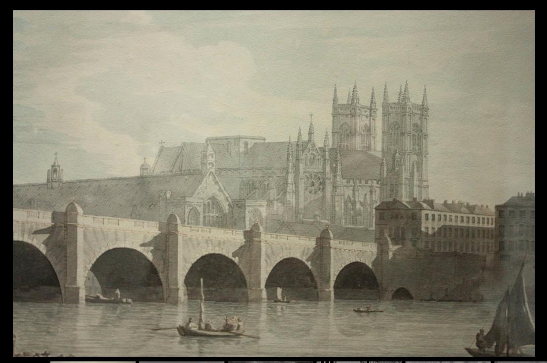 Westminster Bridge by Joseph Farrington, 1759 (https://en.wikipedia.org/wiki/File:Westminster_Bridge_by_Joseph_Farrington,_1789.JPG)