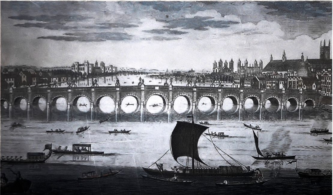 Westminster Bridge c.1750 (Wikimedia)