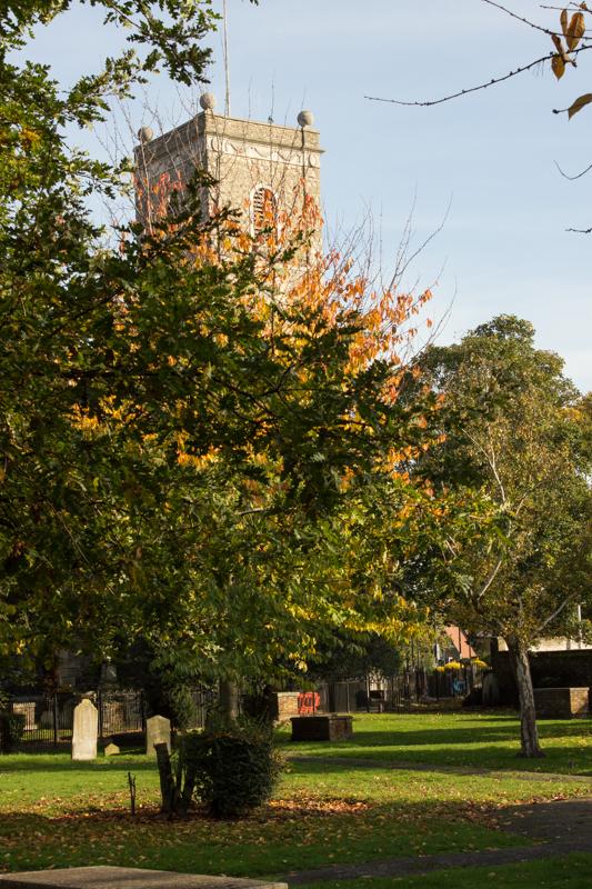 Lewisham Church from the Ravensbourne River