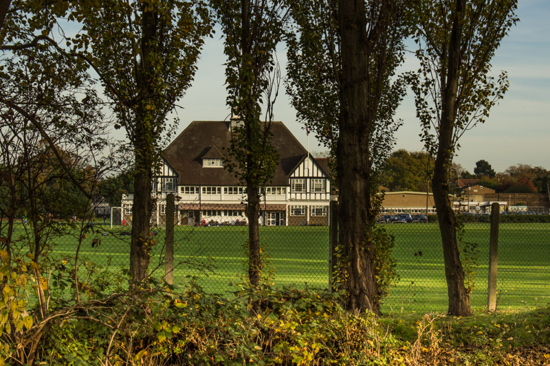 HSBC Sports Ground, Beckenham, seen from across the Pool River