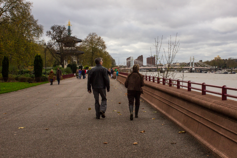 The river walk, Battersea Park, looking towards the Albert Bridge