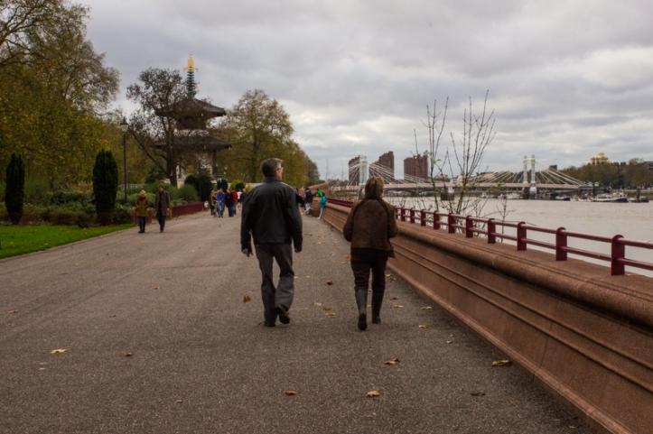 The river walk, Battersea Park, looking towards the Albert Bridge