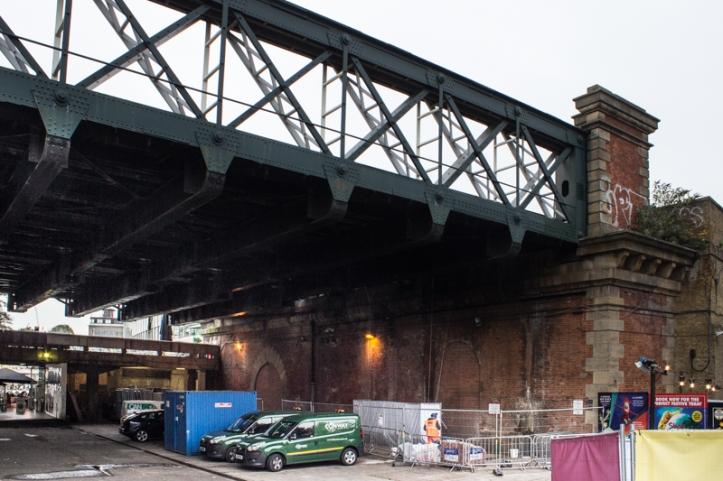 Brunel's brick pier on the South Bank with Hawkshaw's iron railway bridge