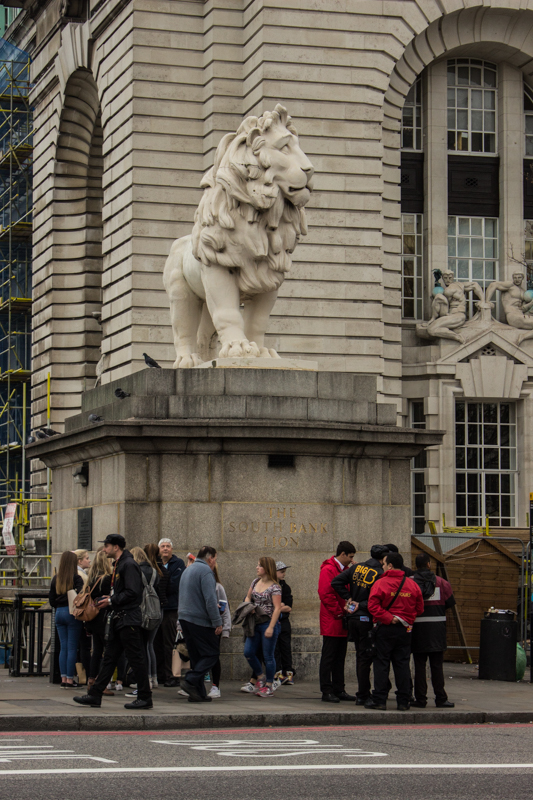 The Coade Lion from the old Red Lion Brewery on the South Bank