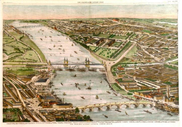 Battersea, Chelsea & Vauxhall Bridges, with the start of the railway bridge, 1859 (https://commons.wikimedia.org/wiki/File:ILN_Vauxhall,_Victoria_%26_Battersea_bridges.jpg)
