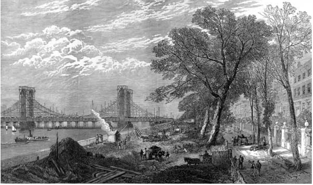 Chelsea Embankment & Albert Bridge being built, 1873 (https://commons.wikimedia.org/wiki/File:ILN_Chelsea_Embankment_%26_Albert_Bridge_construction.jpg)