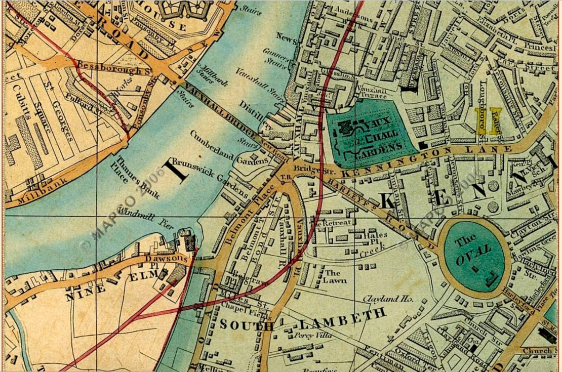 Cross's map of 1850 showing Nine Elms (http://mapco.net/london.htm)