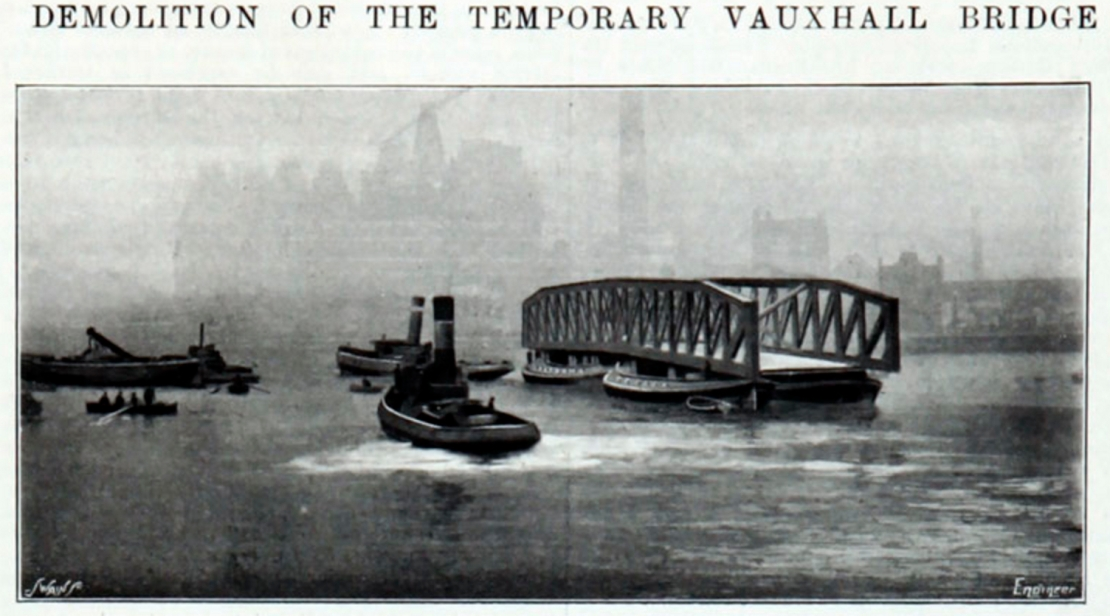 Demolition of the Temporary Wooden Bridge at Vauxhall (http://www.gracesguide.co.uk/File:ImV103-p415.jpg)