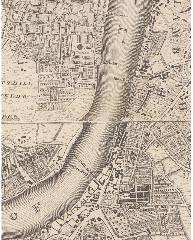 Huntley Ferry crossing, 1746 (https://commons.wikimedia.org/wiki/File:Rocque_Vauxhall_and_Westminster_(cropped).png)