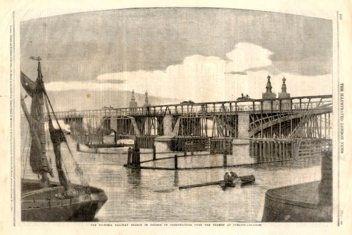 The new railway bridge as published in the Illustrated London News (as advertised on EBay)
