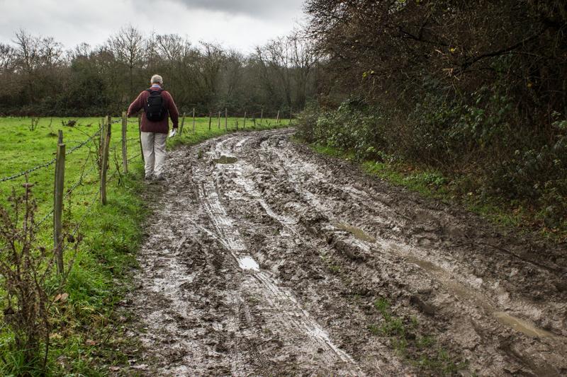 Slithering along the farm track towards Barnet Wood