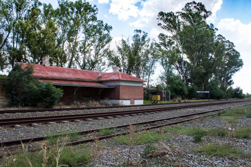 The derelict railway station at Sannas Pos
