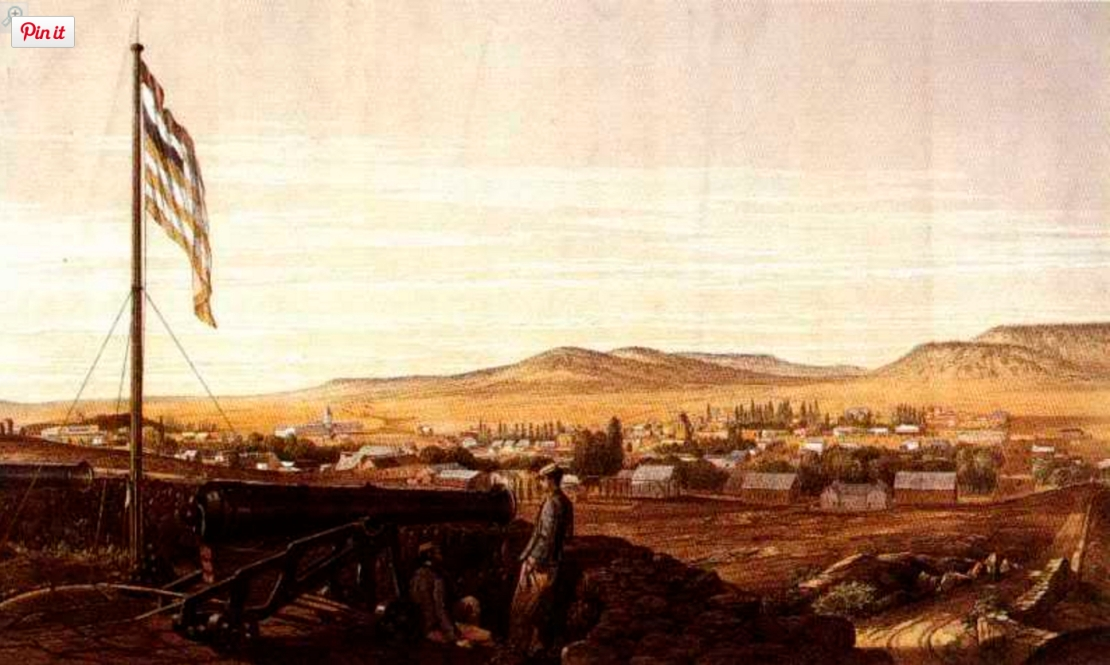 Bloemfontein from the Fort, 1860s (http://www.victorianwars.com/viewtopic.php?f=6&t=6915)